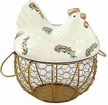 Metal Egg Basket with Chicken Shape Ceramics