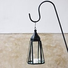 Metal Filigree Small Hanging Lantern, Black, One