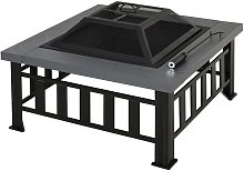 Metal Fire Pit Outdoor Backyard Square Stove Wood