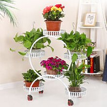 Metal Flower Pot Shelf Stand Rack 74x30x78cm white