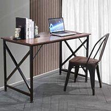 Metal Frame Computer Desk Office Table Teak Brown