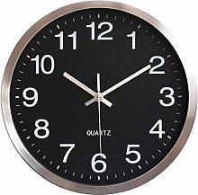 Metal Frame Wall Clock Silent Non Ticking Battery