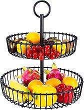 Metal Fruit Basket 2 Tier Fruit Bowl Stand for
