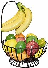 Metal Fruit Basket with Banana Holder, Fruit Bowl