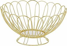 Metal Fruit Bowl, Black Wire Fruit Basket, Round