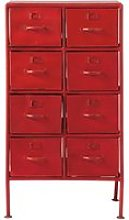 Metal industrial cabinet in red W 52cm Cranberry