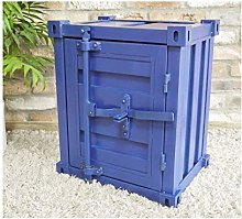 Metal Industrial Shipping Container Style Blue