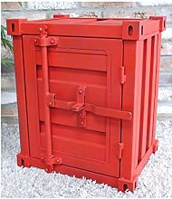 Metal Industrial Shipping Container Style Red