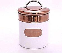 Metal Kitchen Food Storage Tin Canister White &