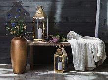 Metal Lantern Brass Stainless Steel H 55 cm Pillar Candle Holder
