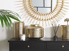 Metal Lantern Gold Iron with Holes H 25 cm Pillar Candle Holder