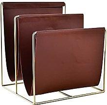 Metal Leather Magazine Rack, Leather Handle, Book