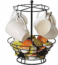 Metal Mug Tree & Coffee Pod Holder Storage Basket