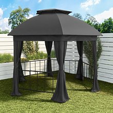 Metal Outdoor Gazebo with Fabric Roof and Curtain