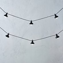 Metal Pendant String Lights - 10 Bulbs, Black, One