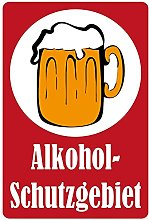 Metal Sign 20 x 30 cm Alcohol Protection Area