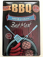 Metal Sign 20 x 30 cm BBQ Grill Best Meat Eat All