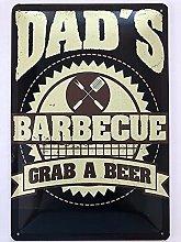 Metal Sign 20 x 30 cm Dad's Barbecue Beer
