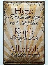 Metal Sign 20 x 30 cm Heart Head Alcohol Sayings