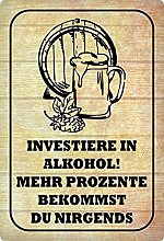 Metal Sign 20 x 30 cm Investiere in Alcohol