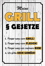 Metal Sign 20 x 30 cm My Grill Laws Rules Grillen
