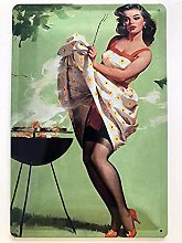 Metal Sign 20 x 30 cm Sexy Strapps Pin Up Grill
