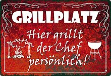 Metal Sign 20 x 30 cm with German Text 'Hier