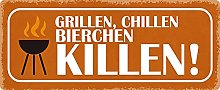 Metal Sign 27 x 10 cm Barbecue Chilling Beer