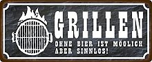 Metal Sign 27 x 10 cm BBQ Without Beer Is Possible