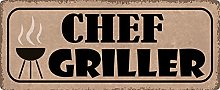 Metal Sign 27 x 10 cm Chef Griller Grill Sayings