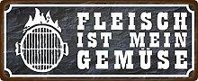 Metal Sign 27 x 10 cm Fleischist mein GemüseGrill