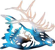 Metal Silhouette Deer Design Wall Decoration,