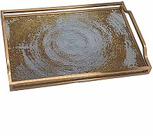 Metal Tempered Glass Tray Coffee Tea Dinner Party