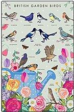 Metal Tin Retro Sign Garden Birds Wall Art Print -