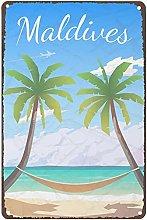 Metal Tin Retro Sign Retro Maldives, Tropical