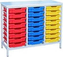 Metal Tray Storage Unit With 24 Trays, Grey/Royal