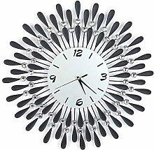 Metal Wall Clock, Modern Round Design Diamond
