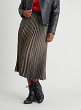 Metallic Gold & Black Pleated Skirt - 10