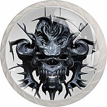 Metallic Skull Design Isolated 3D 4pcs Glass