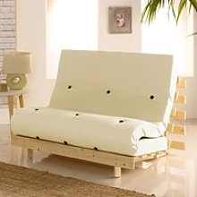 Metro Cream Cotton Drill Fabric Tufted Futon