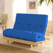 Metro Dark Blue Cotton Drill Fabric Tufted Futon