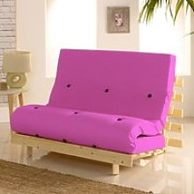 Metro Pink Cotton Drill Fabric Tufted Futon