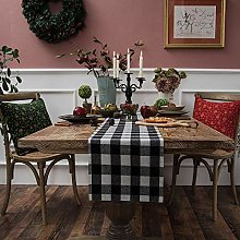 METTY Christmas Plaid Table Runner,Cotton Table