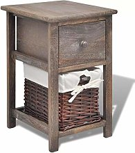mewmewcat Rustic Chic Bedside Cabinet Unit Table