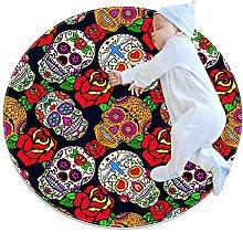 Mexican Sugar Skull With Rose, Kids Nursery Rug