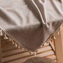MF Decorative Cotton Linen Lace Tassel Tablecloth