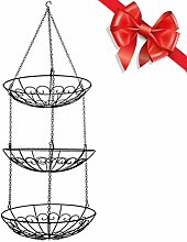 MFLASMF 3-Tier Wire Hanging Fruit Basket, Fruit