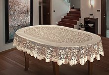 MforStyle Oval Tablecloth Heavy Lace Cream Golden