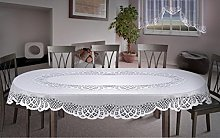 MforStyle Oval Thick Lace Tablecloth White Large