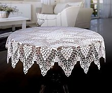 MforStyle White Tablecloth Round Lace Crochet